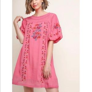 UMGEE M Puff Sleeved Cottagecore Embroidered Dress